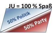 Das JU-Motto: 50% Politik + 50% Party = 100% Spass